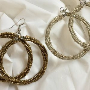 Beaded Boho Metallic Hoops